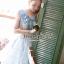 Set Pastel Blue Domicile Blouse with Organza Skirt by Seoul Secret thumbnail 1