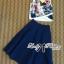 Lady Ribbon's Made Lady Elena Graphic Print Crop Top and Denim Midi Skirt Set thumbnail 5