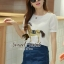 Nifty White Blouse Golden Gee-Gee match with Denik Skirt by Seoul Secret thumbnail 1