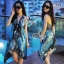 (ส่งฟรี EMS) Sevy Bohemian Satin Classy On The Beach Dress thumbnail 5