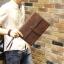 พร้อมส่ง กระเป๋าถือ กระเป๋าเอกสาร หนัง PU สีน้ำตาล ใส่เอกสาร ใส่โทรศัพท์ ใส่ ipad mini ได้ thumbnail 5