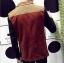 พรีออร์เดอร์ เสื้อสูท ผู้ชาย ลำลอง สีแดง แขนสีน้ำเงิน แขนยาว คอปก แต่งบ่าสีน้ำตาล กระดุม 2 เม็ด thumbnail 2