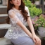 Chic White Organdy Blossom Match With Cotton Fabric Dress by Seoul Secret thumbnail 3