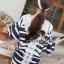 Chicly V Shape Lace Cotton Stripy Dress by Seoul Secret thumbnail 4