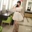 Mini Dress Lace Chiifon With Belt 2 Color Style Korea thumbnail 2