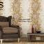 วอลเปเปอร์ลายทางดอกไม้ใบไม้ใหญ่โทนสีเหลืองอมทอง ขาว และสีกะปิ GAR3-B66W thumbnail 1