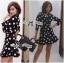 Lady Taylor Polka Dot Crop Jacket and Pleated Skirt Set thumbnail 1
