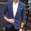 พรีออร์เดอร์ เสื้อสูท ผู้ชาย ลำลอง สีน้ำเงิน ลายตาราง แขนยาว คอปก แต่งขอบกระเป๋า กระดุม 1 เม็ด thumbnail 1