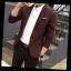 พรีออร์เดอร์ เสื้อสูท ผู้ชาย ลำลอง สีแดง ลายตาราง แขนยาว คอปก แต่งขอบกระเป๋า กระดุม 1 เม็ด thumbnail 3