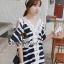 Chicly V Shape Lace Cotton Stripy Dress by Seoul Secret thumbnail 3