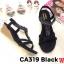 รองเท้าแตะส้นเตี้ยแบบรัดส้นแต่งอะไหล่เพชรด้านหน้า แบรนด์ cavawia thumbnail 2