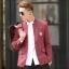 พรีออร์เดอร์ เสื้อสูท ผู้ชาย ลำลอง สีแดง แขนยาว คอจีน กระดุมเม็ดเดียว ปักแต่งกระเป๋า thumbnail 1