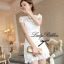Lady Ribbon's Made Lady Pure White Blossom Embroidery Gala Mini Dress thumbnail 3