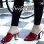 รองเท้าสวย แมกซี่สวมส้นตัน หนังสักหลาดนิ่มมากคะ ส้นหนังกระจกสีทอง สูง3.5นิ้ว thumbnail 1