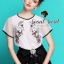 Organdy Flower Embroider Blouse math with Black Shorts Bow Diamond by Seoul Secret thumbnail 1