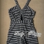 Lady Ribbon's Made Lady Candice Monochrome Striped Jersey Playsuit thumbnail 4