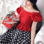 Celebrity style red blouse and polka dot skir thumbnail 2