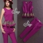 Sevy Two Pieces Of Flouncing Gold Embroidered Sleeveless Top With Feet Pants Suit Sets thumbnail 1