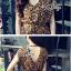(ส่งฟรี EMS) Sevy Hi-End Leopard V-Neck Open Leg Maxi Dress thumbnail 5