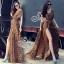 (ส่งฟรี EMS) Sevy Hi-End Leopard V-Neck Open Leg Maxi Dress thumbnail 3