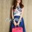 Lady Ribbon's Made Lady Elena Graphic Print Crop Top and Denim Midi Skirt Set thumbnail 1