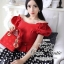 Celebrity style red blouse and polka dot skir thumbnail 1