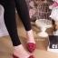 รองเท้าแฟชั่นคัทชูเปิดส้นหัวแหลมแต่งดอกไม้ด้านหน้า thumbnail 3