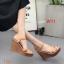 รองเท้าแฟชั่นส้นตึกแบบรัดส้นส้นสูงประมาณ 5 นิ้ว ด้านหน้าแต่งลายสายไขว้สวยงาม thumbnail 3
