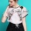 Organdy Flower Embroider Blouse math with Black Shorts Bow Diamond by Seoul Secret thumbnail 3