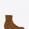 รองเท้าSaint Laurent Classic Wyatt Harness Boot In Ocher Suede