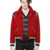 เสื้อSaint Laurent Leopard Ponyskin and Wool Bomber