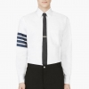 Thom Browne White Grosgrain Trim Shirt