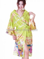 เสื้อคลุมกิโมโนลายเกอิชา เขียวอ่อน