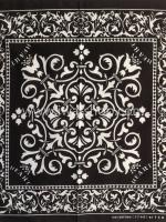 ผ้าเช็ดหน้า ผ้าพันคอ ลายดอกขาวดำ