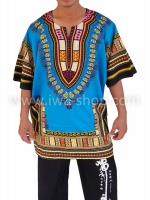 เสื้อลายชนเผ่า เสื้อลายจังโก้ ฟ้า