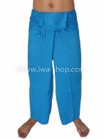 กางเกงเล กางเกงชายหาด ผ้าเรยอน สีฟ้า