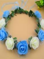 มงกุฎดอกไม้เจ้าสาว ขาวฟ้า
