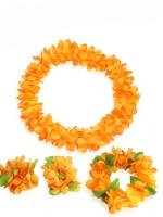 ชุดพวงมาลัยฮาวาย พวงมาลัยดอกไม้แฟนซี ส้ม