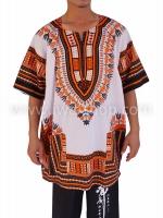 เสื้อลายชนเผ่า เสื้อลายจังโก้ ขาวส้ม