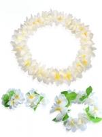 ชุดพวงมาลัยฮาวาย พวงมาลัยดอกไม้แฟนซี ขาวเหลือง