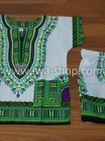 เสื้อลายชนเผ่า เสื้อลายจังโก้เด็ก ขาวเขียว