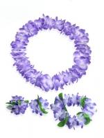ชุดพวงมาลัยฮาวาย พวงมาลัยดอกไม้แฟนซี ม่วงขาว