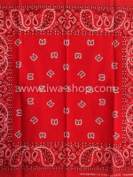 ผ้าเช็ดหน้า ผ้าพันคอ ลาย Paisley แดง
