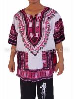 เสื้อลายชนเผ่า เสื้อลายจังโก้ ขาวชมพู