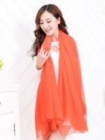 ผ้าคลุมไหล่ ผ้าคลุมไหล่ชุดเดรส ชีฟองส้ม
