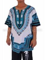 เสื้อลายชนเผ่า เสื้อลายจังโก้ ขาวฟ้า