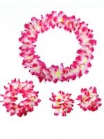 ชุดสร้อยฮาวาย พวงมาลัยดอกไม้ชมพู