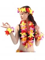 ชุดพวงมาลัยฮาวาย พวงมาลัยดอกไม้แฟนซี รุ้ง2