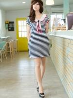 SWD049 เดรสแฟชั่น Stripe Dress เนื้อผ้ายืดลายขวาง สีกรมท่าสลับสีขาว น่ารักฝุดๆ มีกระเป๋าด้านข้าง