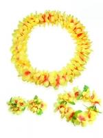 ชุดพวงมาลัยฮาวาย พวงมาลัยดอกไม้แฟนซี เหลืองส้ม